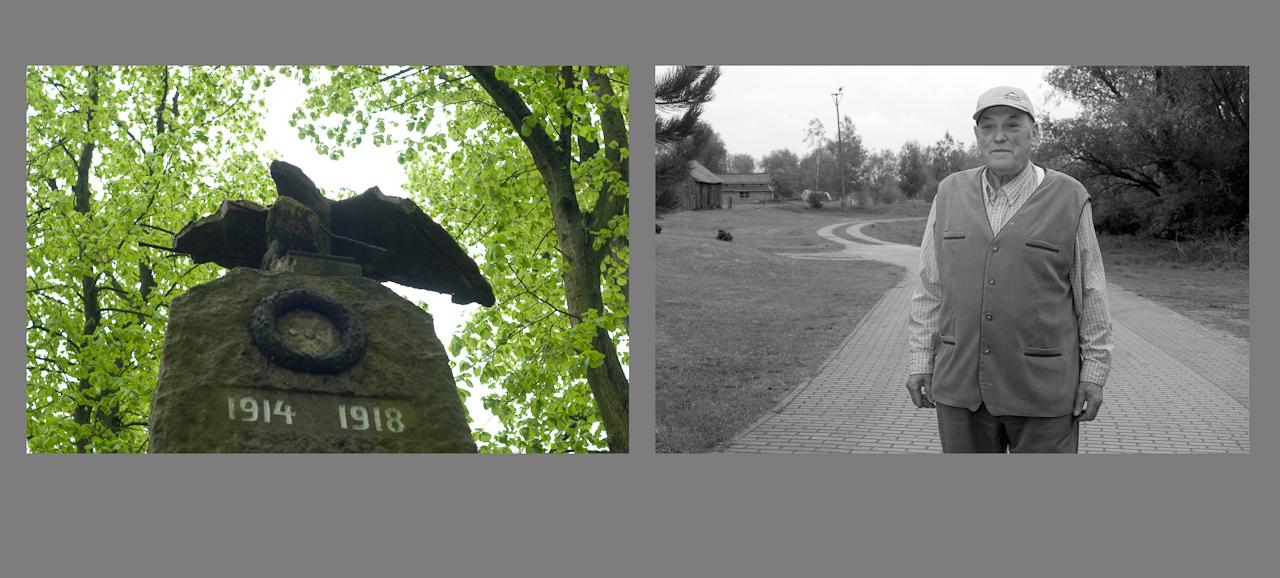 """""""Menschen auf dem Dowitzweg-  ein anhaltinisches Dorf im Havelland.""""  fotografiert am 7.12.2010 von Christiane Eisler. Hier der Bauer Gerd -  neben einem Motiv aus dem kleinen Dorf Warnau in der Nahe von Havelberg, entdeckt am 7.5.1010, Denkmal fur die  Gefallenen Soldaten aus dem esrten Wetlkrieg."""