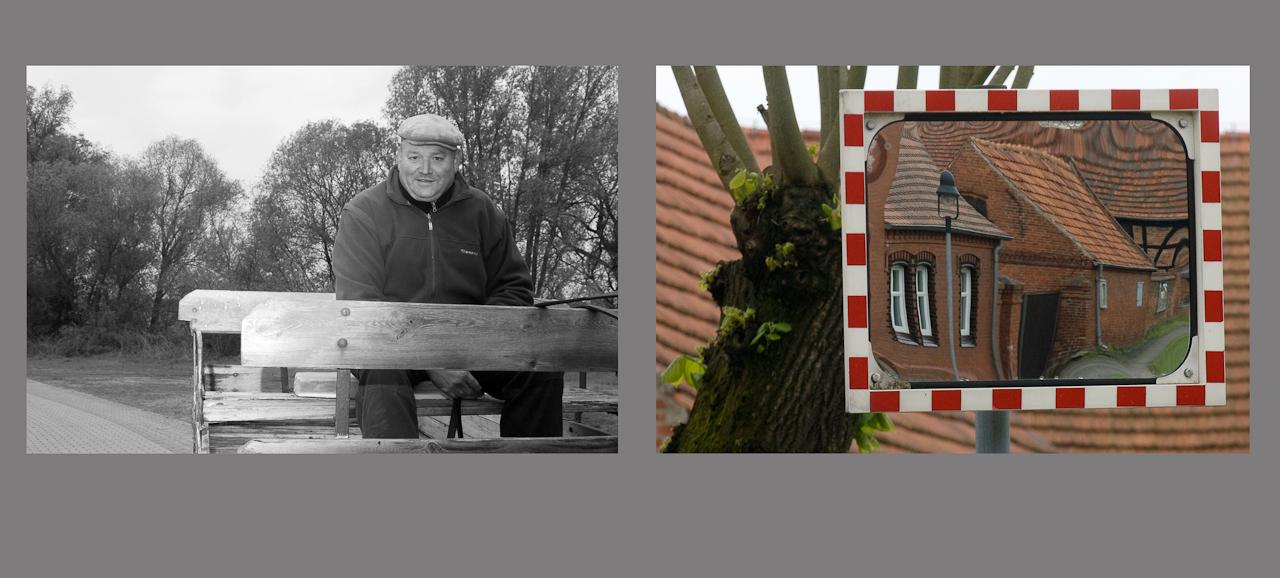 """""""Menschen auf dem Dowitzweg-  ein anhaltinisches Dorf im Havelland.""""  fotografiert am 7.12.2010 von Christiane Eisler. Hier ein Fuhrwerker mit seinem Gespann neben einem Motiv aus dem kleinen Dorf Warnau in der Nahe von Havelberg, entdeckt am 7.5.1010."""