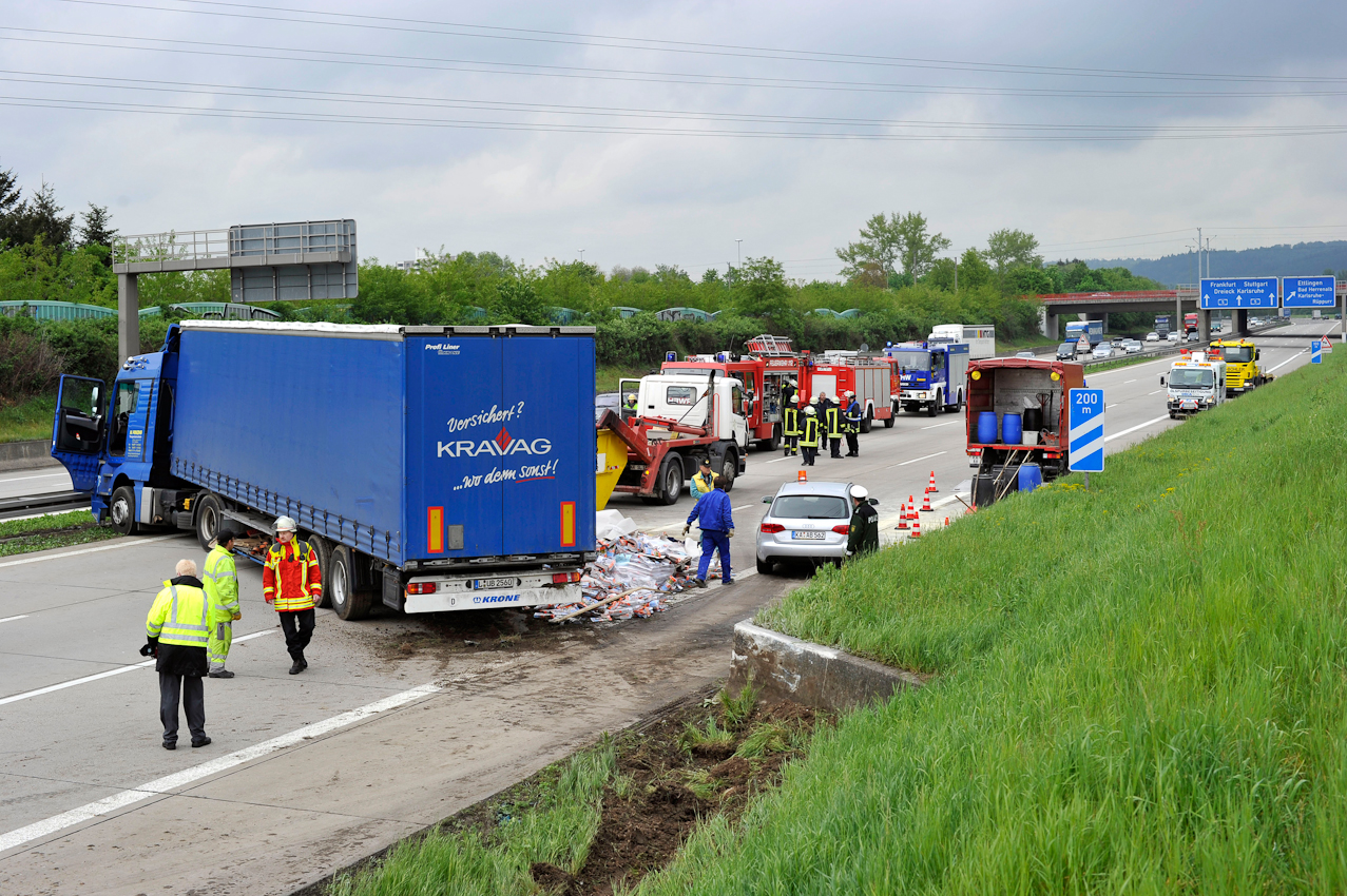 Karlsruhe, DEU, 07.05.2010: 14.13 Uhr -- Nach einem Unfall auf der Autobahn 5 zwischen Karlsruhe-Sued und Ettlingen musste die Polizei die A 5 ab der Ausfahrt Karlsruhe-Sued bis gegen 17 Uhr komplett sperren. Ein Sattelzug blokierte alle drei Fahrstreifen und der Rueckstau war bis zu 20 Kilometer lang.