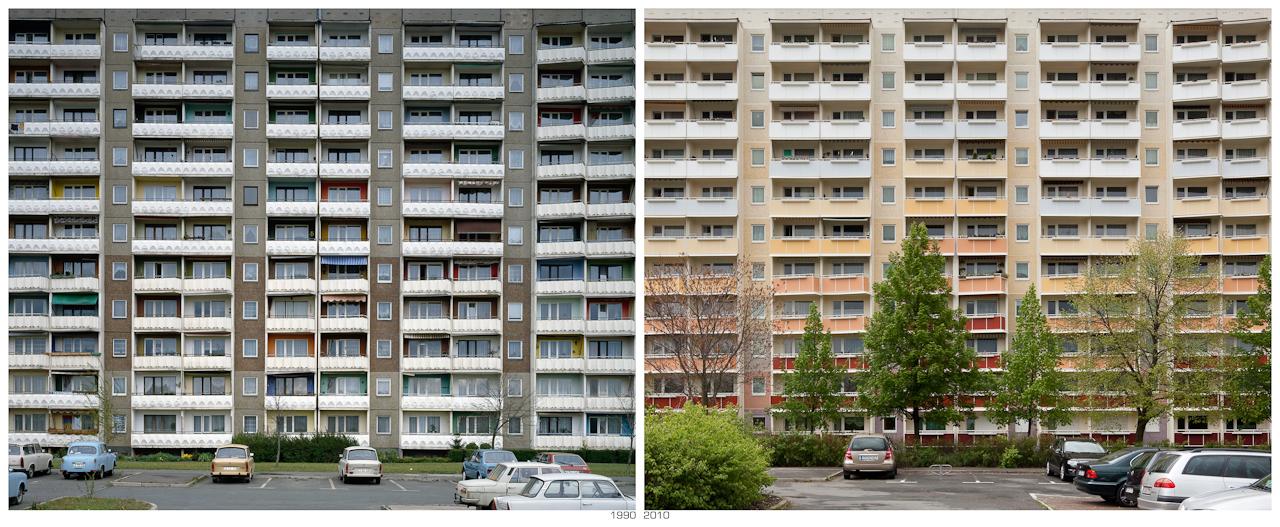 """""""Wendezeiten"""", Hochhausfassade 1990 - 2010; Aufnahmeorte der Architekturdokumentation aus dem Jahr 1990 """"Alltagsarchitektur in der DDR - 40 Jahre Werterhaltung"""" im Mai 2010 wieder aufgesucht und möglichst von dem gleichen Standpunkt aus das Bild neu fotografiert, um so den direktesten Vergleich herstellen zu können. Die Bildpaare machen die Veränderung in diesen 20 Jahren deutlich. Ob es nun besser oder schlechter geworden ist, mag der Betrachter selbst beurteilen."""