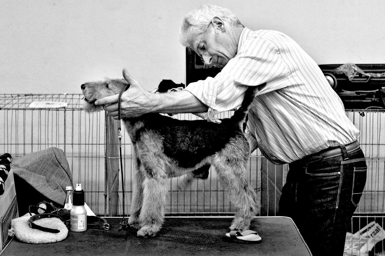 DEU, Deutschland, Dortmund, 07.05.2010, Ein Mann mit seinem Hund bei einer Hundeausstellung.