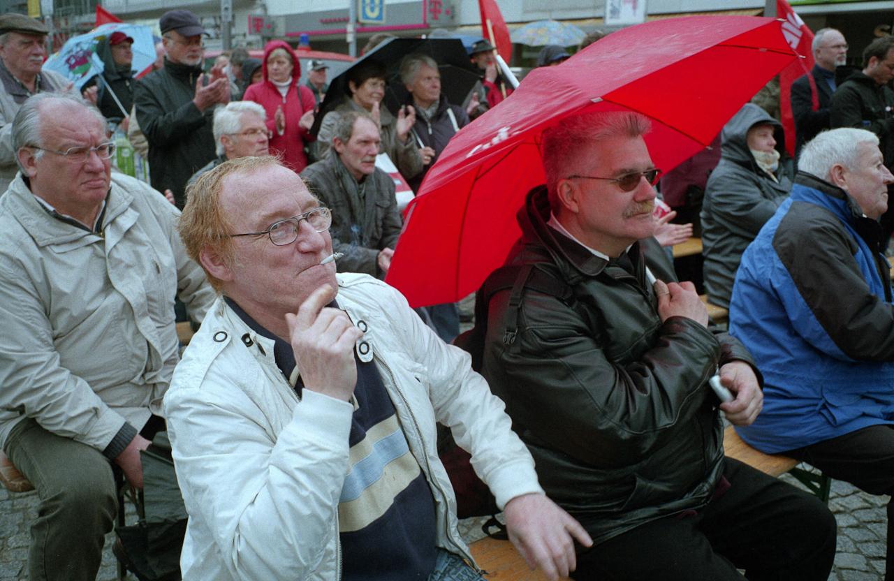 Wahlveranstaltung der Linken in der Herner Innenstadt zur Landtagswahl in NRW.
