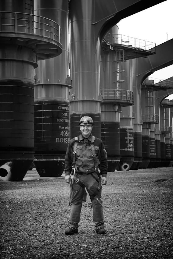 Patrick Scheff ist Monteur bei der Cuxhaven Steel Construction GmbH.