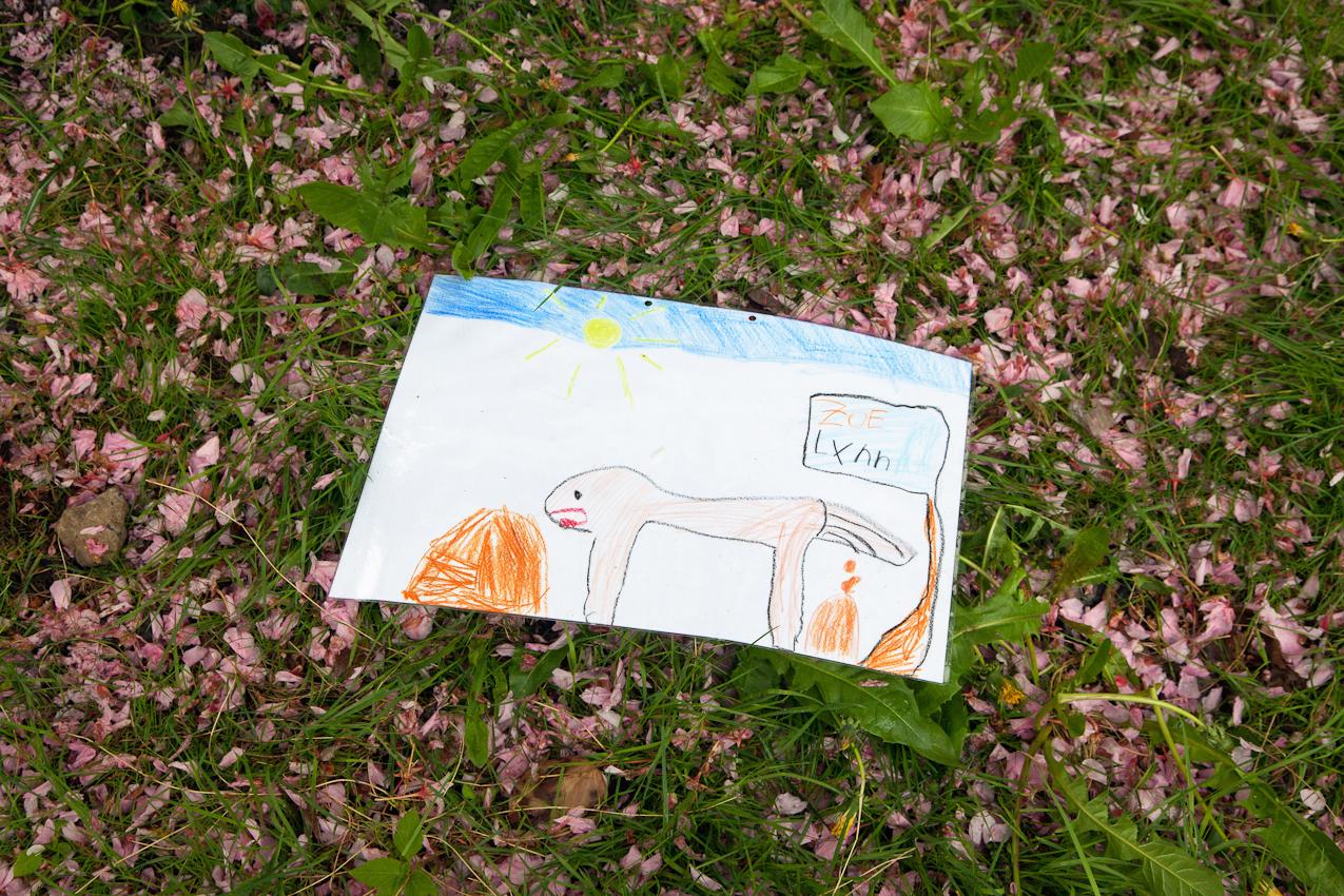 """16:56 Uhr: Kampf dem Hundekot. SchülerInnen der Grundschule """"Bei der Osterkirche"""" in Hamburg-Ottensen haben Plakate gegen die Verschmutzung der Nachbarschaft durch Hundekot aufgehängt."""