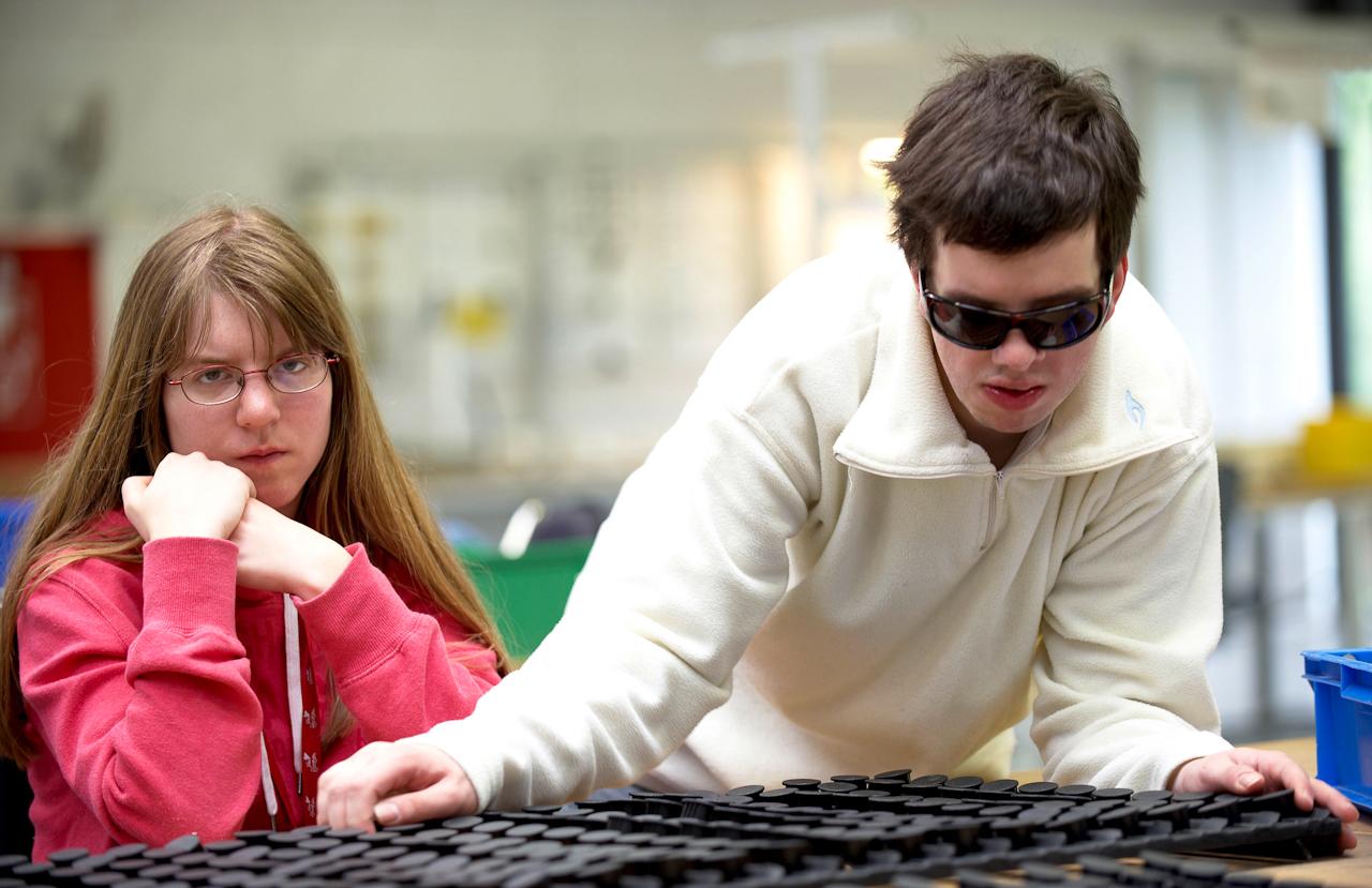 Diese beiden Mitarbeiter helfen sich gegenseitig bei ihrer Arbeit im Bereich der Industriemontage. Hier werden schwarze Plastikkappen zur Weiterverarbeitung in der Autoindustrie auf Rahmen gesteckt.